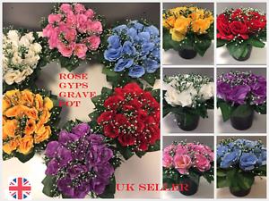 Memorial Grave Pot Artificial Silk Flower Arrangement Good Quality