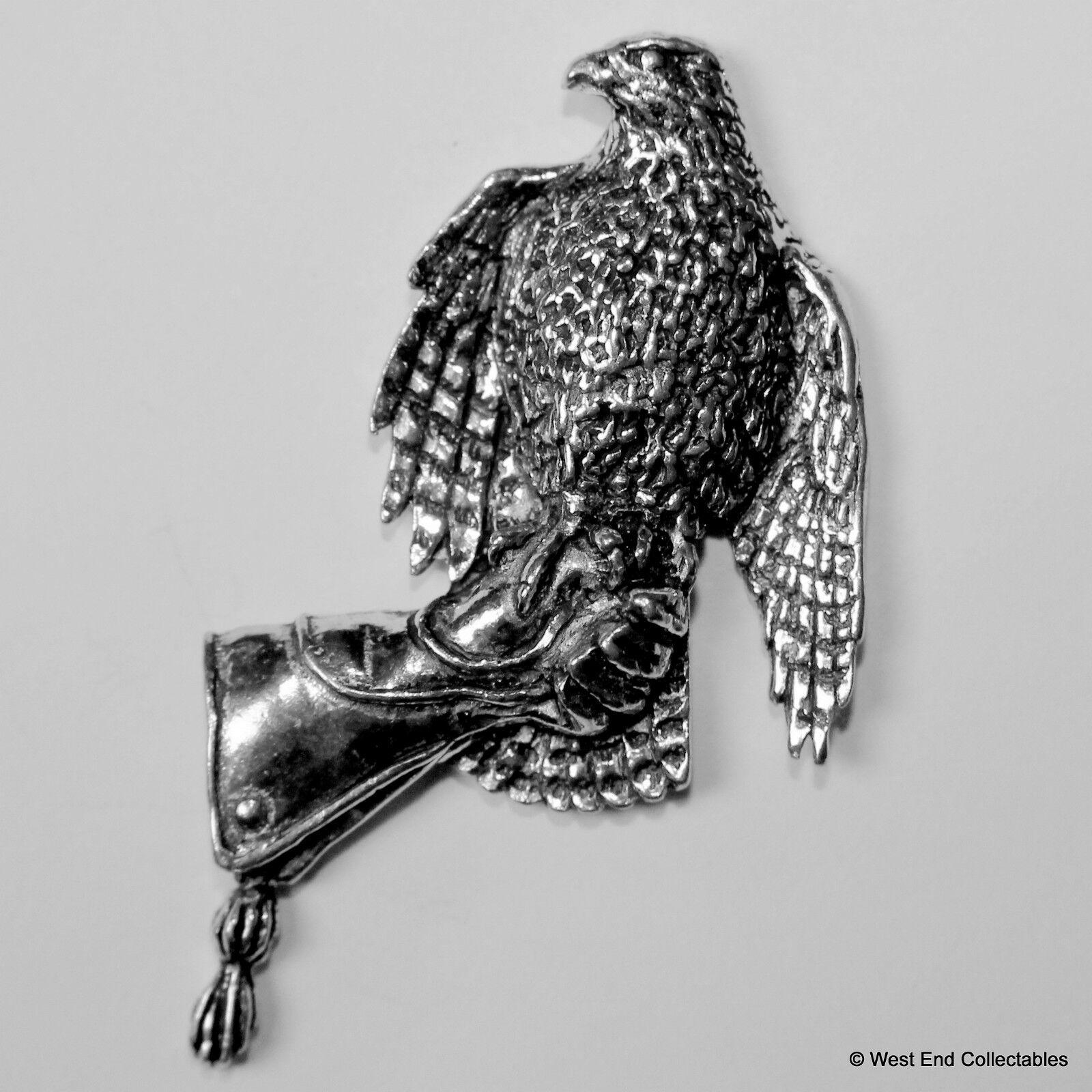 Fauconnerie Hawk sur Gantelet Grand Broche Britannique En Etain broche Britannique Broche Artisan 345b83