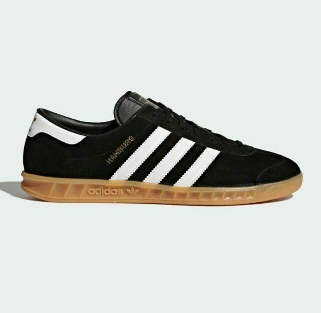 adidas Originals Hamburg Shoes Suede Trainers in Black & White