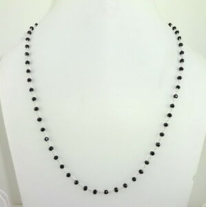 925-SOLID-STERLING-SILVER-NECKLACE-NATURAL-FACETED-BLACK-ONYX-GEMSTONE-7-gm-4-mm
