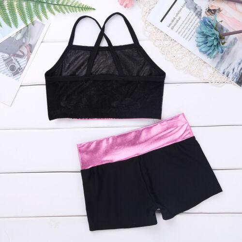 Kid Girls Lyrical Dance Dress Lace Crop Top+Bottoms Set Modern Dancewear Costume