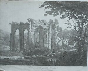 1810-ANTIQUE-PRINT-SOUTH-VIEW-OF-FURNESS-ABBY-ABBEY-LANCASHIRE