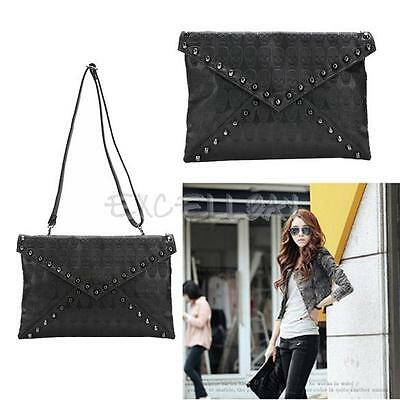 Punk  Skull Spike Envelope Woman Lady Leather Clutch Handbag Bag  Black E0Xc