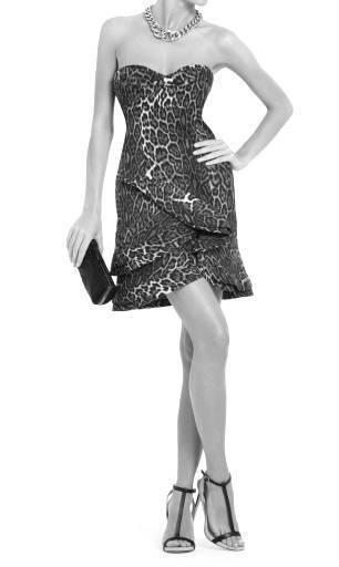 448 NEW BCBG MAXAZRIA  DORIN  LEOPARD PRINT STRAPLESS DRESS 0
