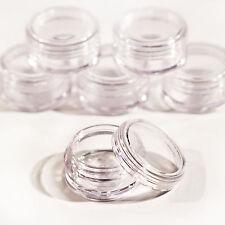 100 x 10ml CLEAR PLASTIC SAMPLE JARS/POTS **BEST QUALITY**  Glitter/Cream jfc100