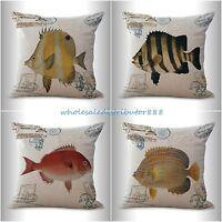 4pcs Cushion Covers Vintage Ancient Marine Sea Life Fish Sofa Throw Pillows