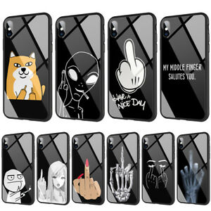 Details About Cartoon Middle Finger Tempered Glass Tpu Case For Iphone Xs Max X 8 7 6 6s Plus