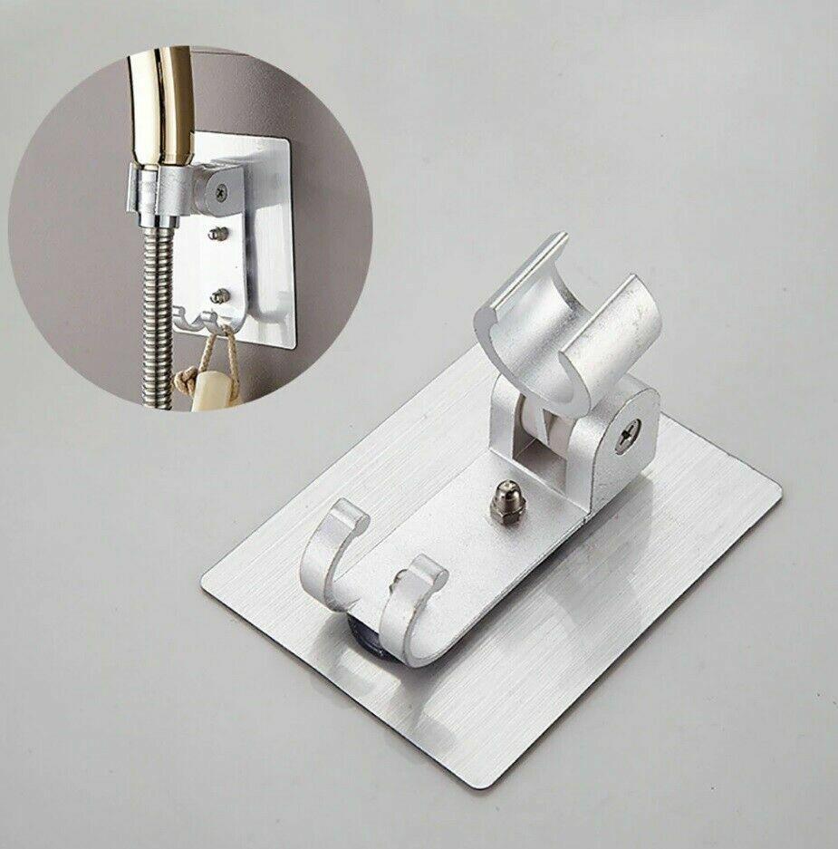 Punch-Free Aluminum Bathroom Shower Head Holder Stand Bracket Wall Mount Hook
