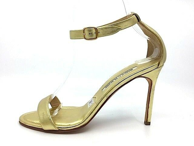 MANOLO BLAHNIK CHAOS gold Leather Ankle Strap Sandals Size 38.5