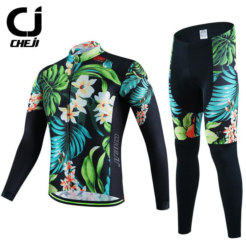 CHEJI Retro Cycling Jersey Long Sleeve Pants Men's Vintage  Cycling Clothing Kit  shop online