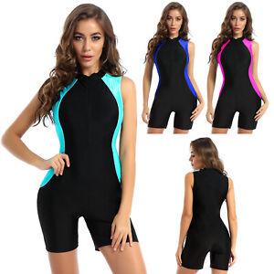 Damen Body Badeanzug Ärmellos Bodysuit mit Bein Overall Bademode Schwimmanzug