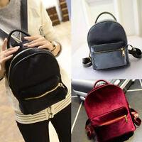 Womens Girls Mini Velvet Rucksack Backpack School Bookbag Travel Shoulder Bags