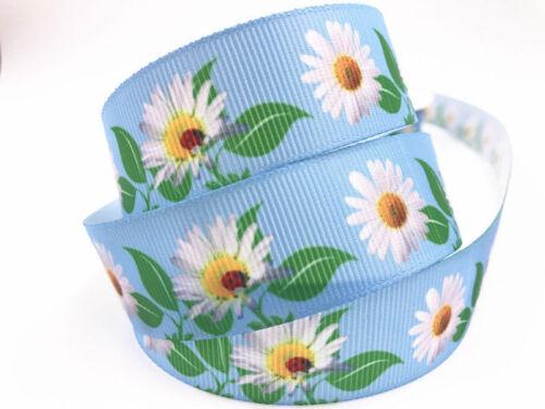10 Yard 1/'/'25MM chrysanthemum Printed Grosgrain Ribbon Hair Bow Sewing Ribbon