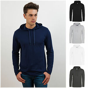 Mens-Long-Sleeve-Hooded-T-Shirt-Hoodie-Hoody-Top-Slim-Fit-Free-PnP