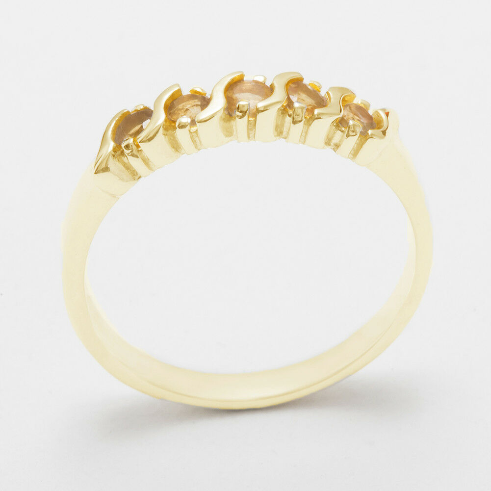 Solid 18ct 750 Yellow gold Natural Citrine Womens Eternity Ring - Sizes J to Z
