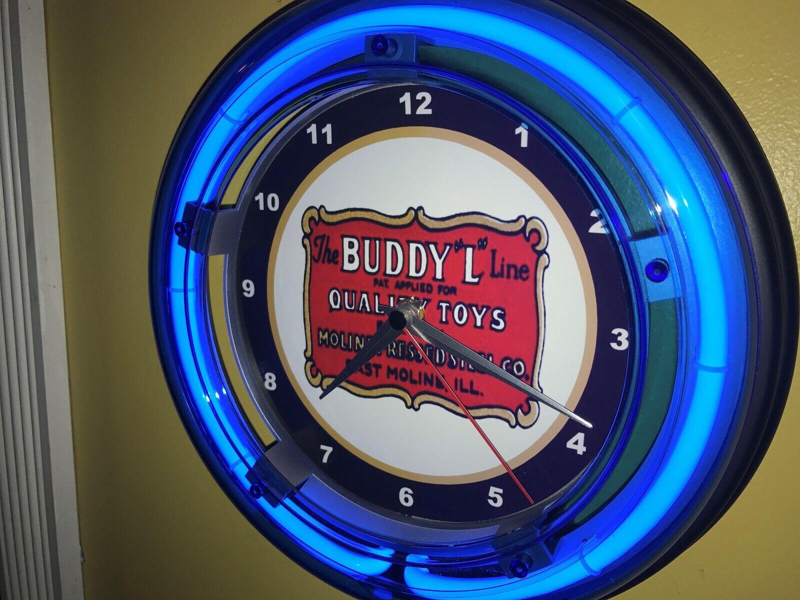 Reloj De Parojo Buddy L Juguete Camión Coche Tienda publicidad Cueva de hombre azul neón Signo