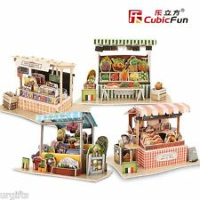 3D Puzzle Model France French Flavor Folk Market Stall Shop Store Travel 4 All