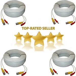 4x 100ft Security Camera Cable CCTV Video Power Wire BNC RCA White Cord DVR