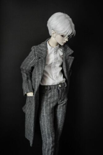 "Grey STrips Gentle Suit Outfit Coat Pants For 1//4 17/""  44cm BJD doll AOD MSD"