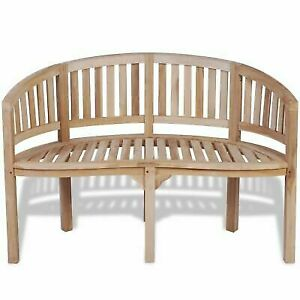 Enjoyable Vidaxl Solid Teak Wood Bench Banana Shape 2 Seater Outdoor Garden Chair Seat Caraccident5 Cool Chair Designs And Ideas Caraccident5Info