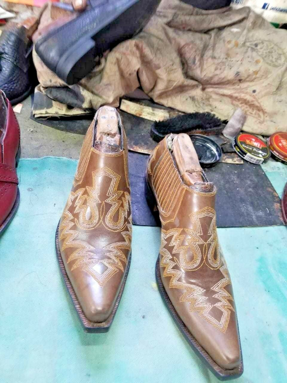 Handmade Men Mexican Boots,Embroidered Cowboy Boots,Taxes Half shoes,Western Boot