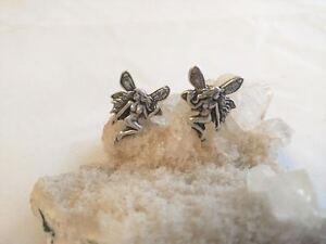 Fairy-Post-Earrings-925-Sterling-Silver-Pixie-Jewelry-Art-Nouveau-Faerie