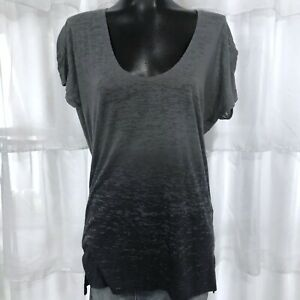 SMALL-BCBGMAXAZRIA-Gray-Burnout-Scoop-neck-Tee-Top