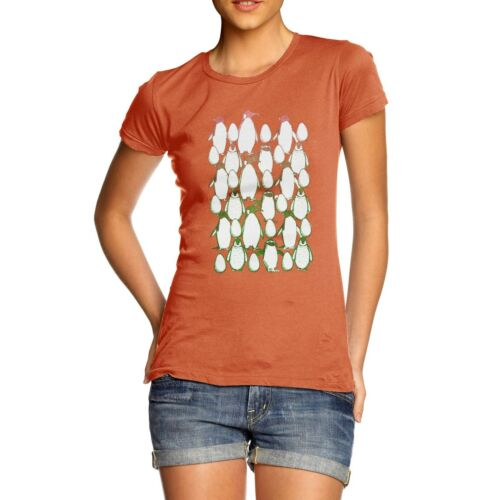 Twisted Envy Women/'s Penguin Christmas Party Premium Cotton T-Shirt