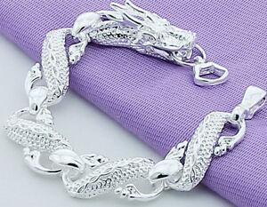 925-Sterling-Silver-Bracelet-Women-039-s-7-1-2-034-Dragon-Link-Chain-w-GiftPg-D502