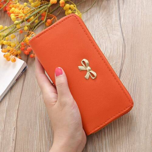 Women Lady Clutch Leather Bow Long Wallet Card Holder Phone Bag Purse Handbag
