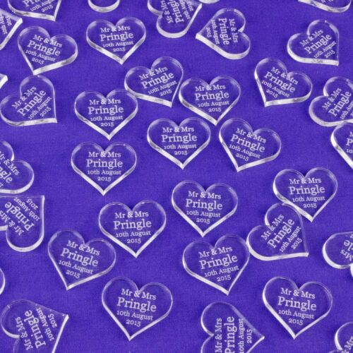 Personalised Love Heart Wedding Decorations Favours Gift Mr /& Mrs Table Confetti