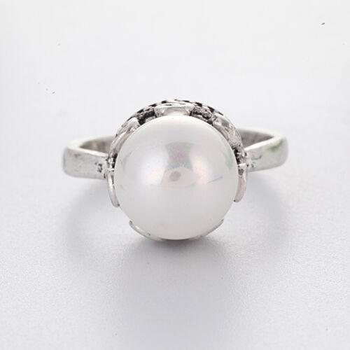 Fashion 925 Silver Ring Femmes Blanc Saphir Perle Mariage Bijoux Cadeau Taille 6-10