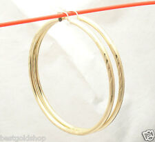 "2 3/4"" 3mm X 70mm Large Diamond Cut Hoop Earrings REAL 10K Yellow Gold"