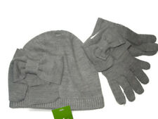 da9feb99ce47a New. Kate Spade knit Grey Dorothy Bow winter Gloves and Hat set retail  98