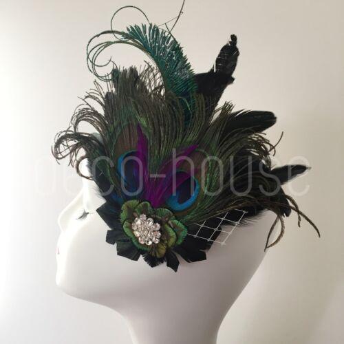 Königsblau Pfauenfeder Fascinator Haarspange Hochzeit Party Vintage