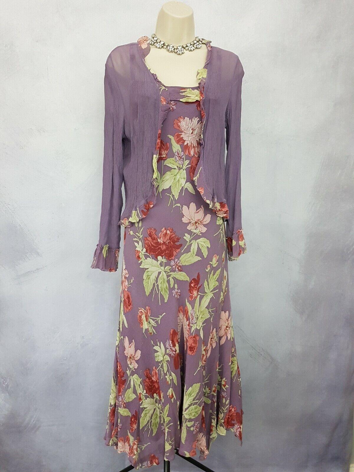 Laura Ashley Mother of The Bride Groom Dress Bolero Purple Floral Long Size 18