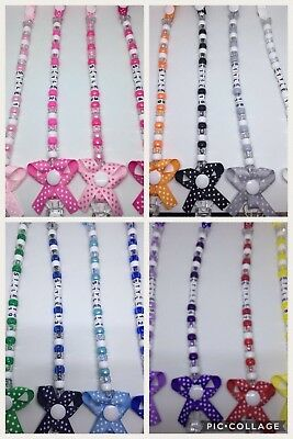 ❤️ Bow Dummy CIip CIips Strap❤️ Baby Gift PIastic CIip...Any Name