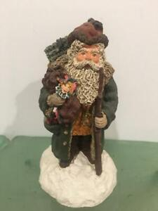 June McKenna 1990 Signed Santa Coming To Town Figurine Folk Art LE 2483 Bag Toys
