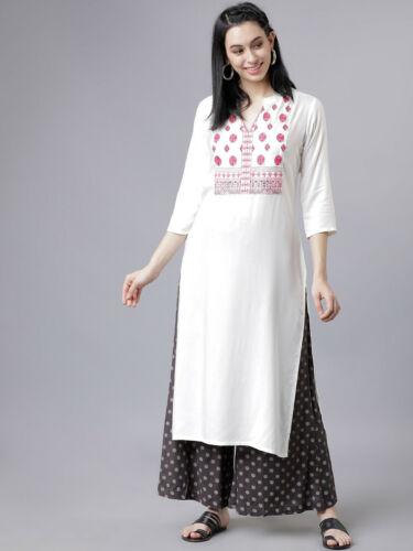 Indian Bollywood Designer gown Kurta Kurti palazo pant women white ethnic dress