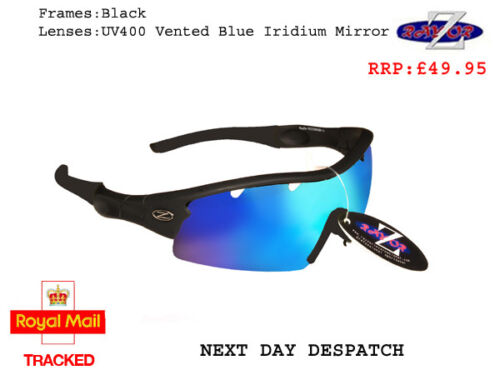 RayZor Uv400 Black Sports Wrap Sunglasses Vented Blue Mirrored Lens RRP£49 220
