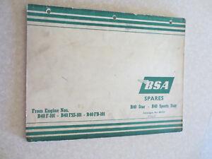 1965 BSA B40 Star & B40 Sports star motorcycle illustrated parts list