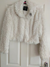 PRIMARK ATMOSPHERE CREAM FAUX FUR SHORT JACKET WITH OWL BROACH SIZE 20 BRAND NEW