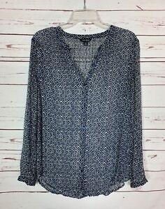 Lucky-Brand-Women-039-s-S-Small-Blue-Boho-Button-Long-Sleeve-Fall-Top-Shirt-Blouse