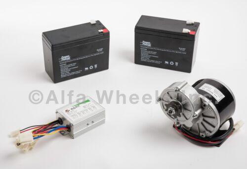 """350 Watt 24 Volt electric motor kit f GoKart gear 1//2/"""" w Batteries /& Controller"""