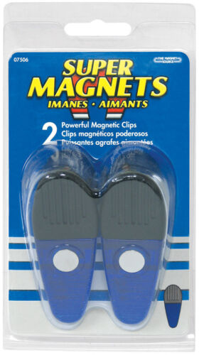 Neodymium//Plastic  Magnetic Clips  35 MGOe Blue  2 pc. Master Magnetics  3.5 in