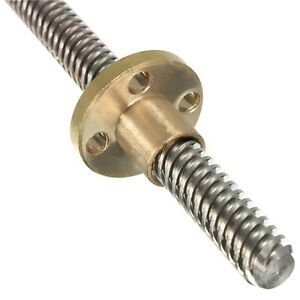 300mm Trapezoidal Lead Screw 8mm Thread 2mm Pitch Lead Screw with Copper Nut