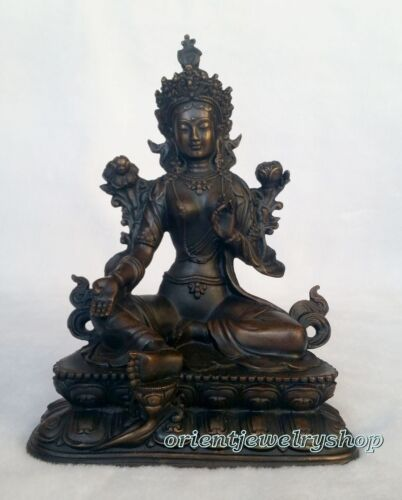 antique Vintage Buddhism Bronze God Buddha Bodhisattva Tara Green Statue