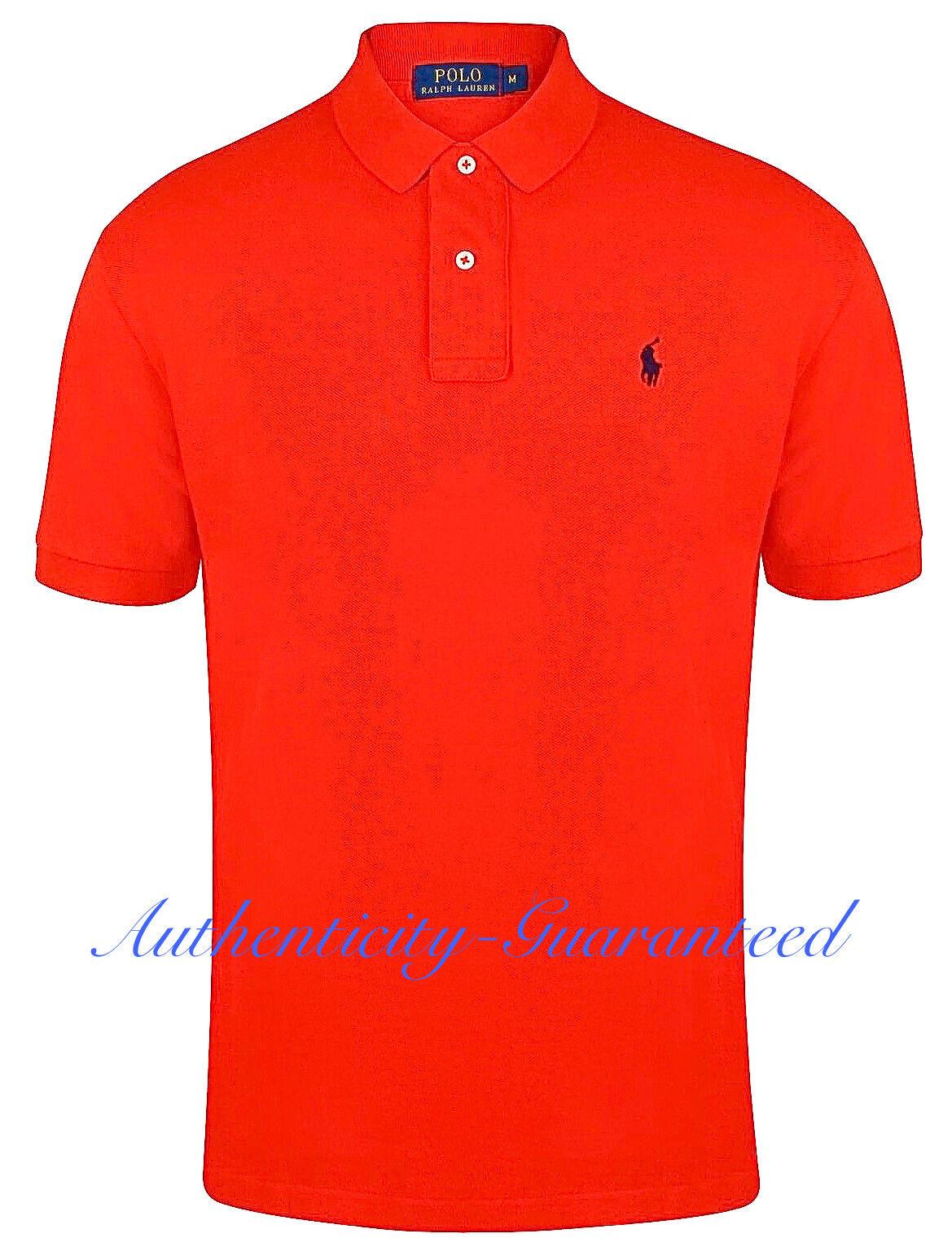 Ralph Lauren Mens Classic Fit Short Sleeve Polo Shirt Coral rot L-XL  | Um Sowohl Die Qualität Der Zähigkeit Und Härte