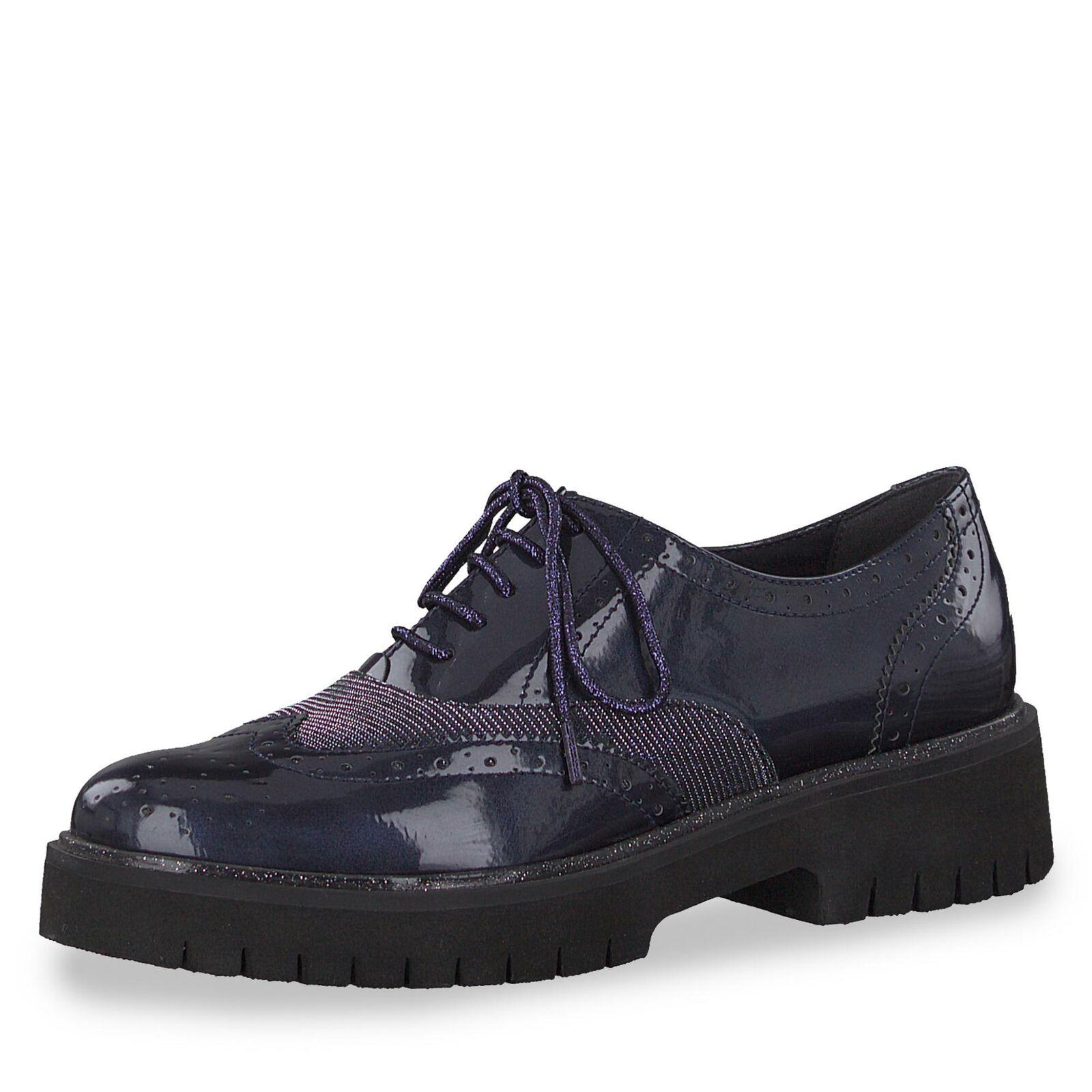 blau Schuh Lederimitat Budapester Halbschuh Schnürschuh