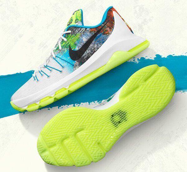 Nike KD 8 VIII N7 Durant 10.5 White Black Lime bluee Red Multi-color 811363-123